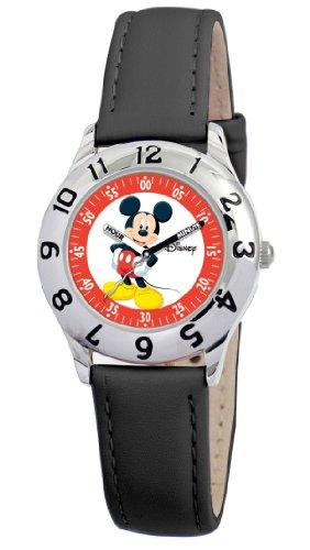 Disney Kids' D800S006 Mickey Mouse Time Teacher Black Leather Strap Watch