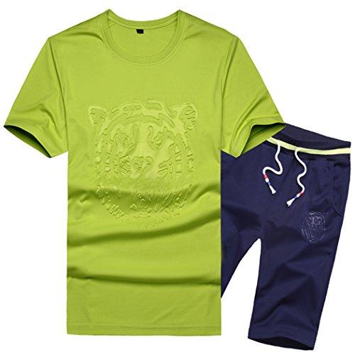 Sun Lorence Fashion Daily Wear Active Shirts And Shorts Casual Sportswear For Men Size XL Green