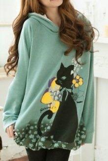 かわいい猫柄 トレーナー パーカー グリーン レディース