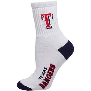 MLB Texas Rangers Mens Quarter Socks, White by For Bare Feet