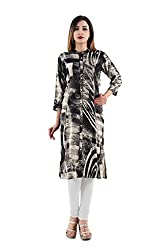 Nishika Princess cut Women's Black Printed Rayon kurti