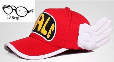 Dr.スランプ アラレちゃん 風 赤帽子とメガネ コスチューム用小物 レディース 頭囲51-58cm