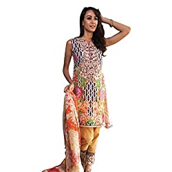Pulp Mango Media's High on Fashion Collection of Pakistani Style, Pure Cambric Cotton Lovely Printed and Embroidered, Multi-Colored Unstitched Dress Material.