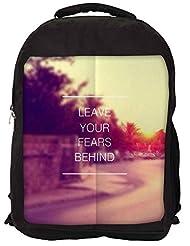 Snoogg Leave Your Fears Behind Backpack Rucksack School Travel Unisex Casual Canvas Bag Bookbag Satchel