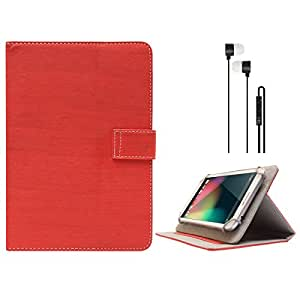 DMG Protective 7in Flip Book Cover Case for iBall Slide 6351-Q40 Tablet (Red) + Black Stereo Earphone with Mic and Volume Control