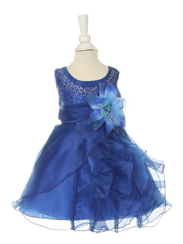 Cinderella Couture Baby-Girls Cascading Organza Dress Royal Sm 6/9M (B1101)