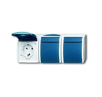 busch jaeger 2300 3ew 53 schuko steckdose 3fach grau blaugr n 2300 3 ew 53 da784. Black Bedroom Furniture Sets. Home Design Ideas