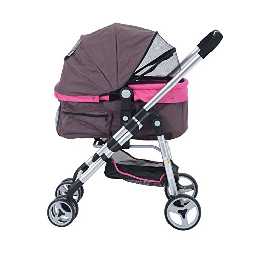 Pawhut Four Wheel Cat/ Dog Pet Stroller – Violet