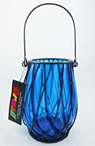 """Pomeroy Collection 7"""" Imperial Blue Glass Hanging Pillar Candle Holder Lantern"""