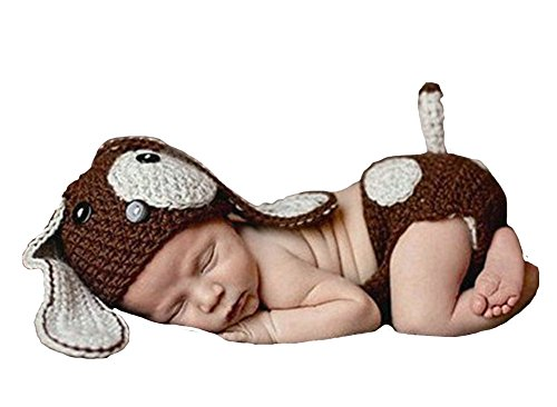 CX-Queen Baby Photography Prop Crochet Knit Dog Cap Diaper Costume