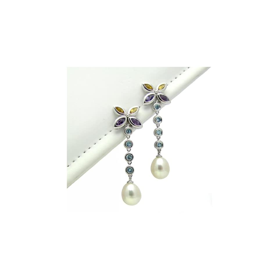 14k White Gold Yellow Citrine, Purple Amethyst is February Birthstone, Blue Topaz Butterfly Design & 8 9mm White Cultured Freshwater Pearl High Luster Earring AAA Quality. Amethyst is February Birthstone.
