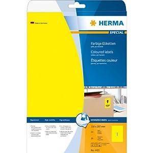 Herma 4421 Etiketten A4 210x297 mm Papier matt 20 Stück gelb