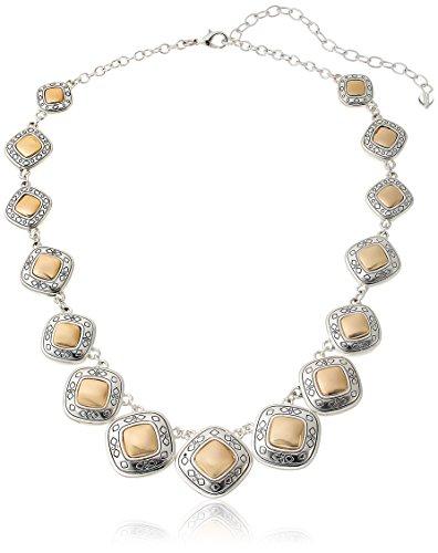 "Napier ""Pattern Balance"" Two-Tone Collar Necklace, 16"""