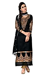 Whatshop Women Georgette Dress Material (Ws1014-3008 _Black _X-Large)