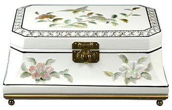 "Unique Romantic Gift Ideas for Her Girlfriend - 12"" Adorlee Oriental Jewelry Box Chest Case - White"