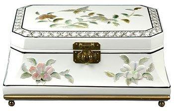 "Unique Romantic Gift Ideas for Her Girlfriend - 12"" Adorlee Oriental Jewelry Box Chest Case - White"