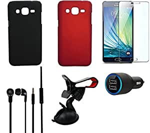 NIROSHA Tempered Glass Screen Guard Cover Case Car Charger Headphone Mobile Holder for Samsung Galaxy J2 - Combo