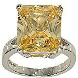 Large Emerald Cut Silvertone Single Stone Fashion Ring in Pale Canary Yellow Cubic Zirconia