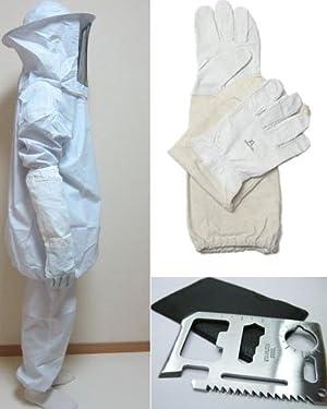 蜂防護服 上下 と 蜂防護手袋 と サバイバルツール の 4点セット 害虫駆除 養蜂