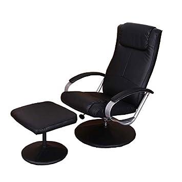 Relaxliege Relaxsessel Fernsehsessel N44 mit Hocker ~ schwarz