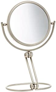 Jerdon MC449N 5.5-Inch Folding Two-Sided Swivel Travel Mirror with 10x Magnification and Velveteen Storage Pouch, Nickel Finish