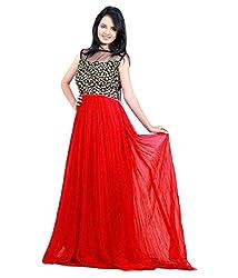 Bhoomi Creation Women's Designer Georgette Red Westren Gown