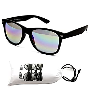 W1000-vp Style Vault GENERIC 80s Sunglasses (RW matte black-rainbow, mirrored)