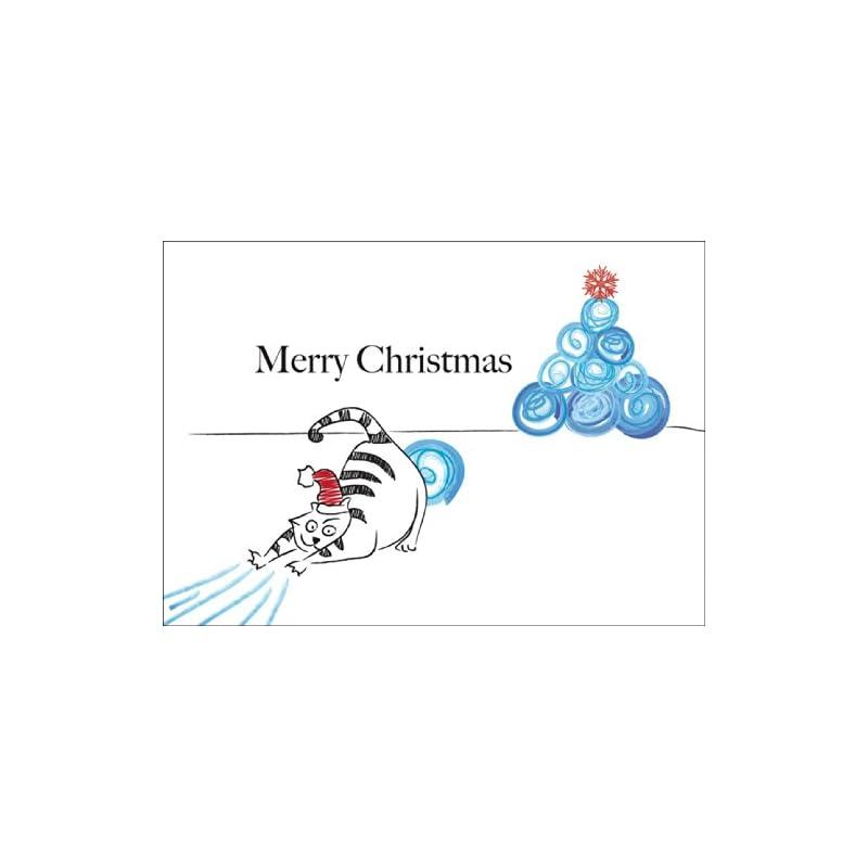 Carte de Noël drôle, Carte-cadeau-Carte de voeux pour Noël avec un chat et l'arbre de Noël de boules de neige:,,,