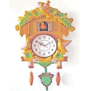 Coucou 41 cm plastique chalet pendule horloge enfant for Pendule de cuisine amazon