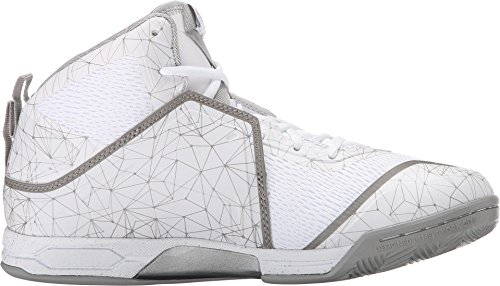 AND1 Men's Havok Basketball Shoe,Bright White/Bright White/Silver,US 10 M