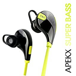 Apekx Wireless 4.1 Bluetooth Stereo Sweatproof In-Ear Lightweight Headphones, Earbuds, Earphones, Headset for Sports / Running / Jogging / Gym with Mic (007 Green)