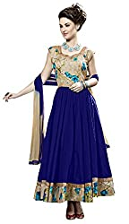 Khoobee Presents South Cotton Anarkali Dress Material(Blue)
