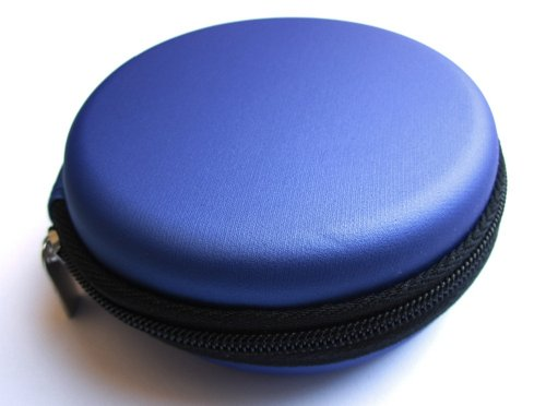 Blue Carrying Case For Beats Monster By Dr.Dre , Tour , Heart Beats By Lady Gaga , Diddy Beats , Power Beats , Street By 50 , Monster By Miles Davis In-Ear Headphones Mobile Hands-Free Headset Wired Bag Holder Pouch Hold Box Pocket Size Hard Hold Protecti