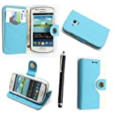 Case cover for Samsung Galaxy S3 mini i8190 Book / flip / wallet / PU leather / design / stripe / premium / stand (sky blu n white)