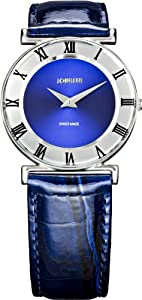Jowissa Women's J2.008.M Roma 30 mm Blue Dial Leather Roman Numeral Watch