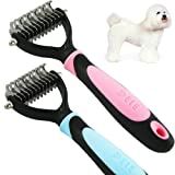 Professional Pet Dog Cat Grooming Undercoat Rake Comb Mat Breaker Dematting Tool Hair Brush Beauty Massage Tools 11 Stainless Teeth Pink