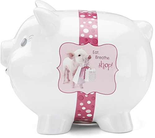 Shaded Pink by H2Z 27029 Shopping Piggy Bank, 4-1/2-Inch
