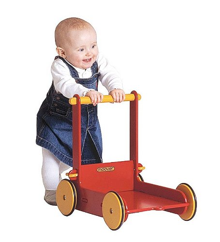Moover Wooden Baby Walker with Shock Absorbing Rubber Wheels, in Red