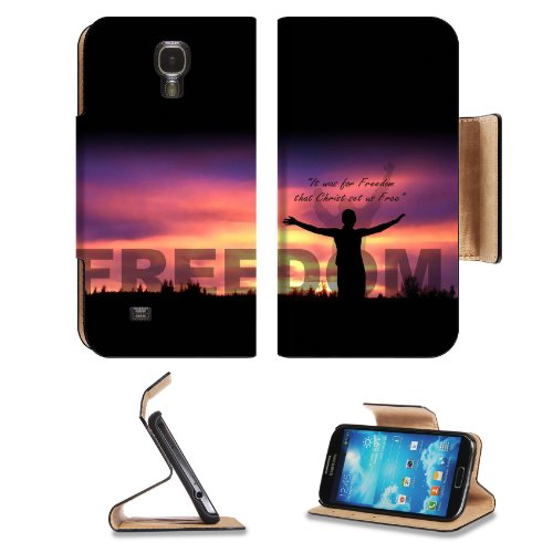Christ Will Set Us Free Samsung Galaxy S4 Flip Cover Case With Card Holder Customized Made To Order Support Ready Premium Deluxe Pu Leather 5 1/2 Inch (140Mm) X 3 1/4 Inch (80Mm) X 9/16 Inch (14Mm) Msd S Iv S 4 Professional Cases Accessories Open Camera H