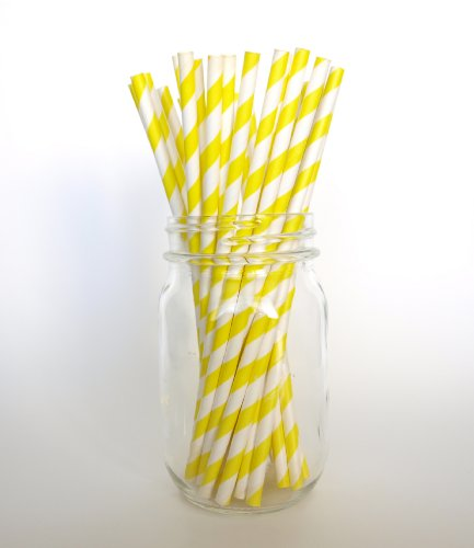 Yellow Designer Stripes Paper Beverage Straws - 25 Pack - Dessert Buffet Tables & Candy Bar Supplies front-766297
