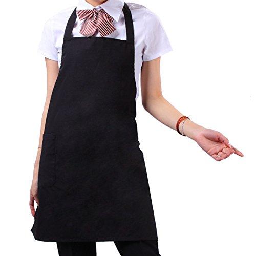 Warrah cucina lavoro grembiule Bavaglino grembiule con tasche, lavabile in lavatrice, Donna Grembiule Bavaglino Grembiule da cucina professionale, perfetto per cucinare, Cuocere, barbequing più nero