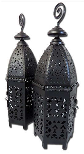 Beautiful Moroccan Style Black Metal Tea light Lantern Gift Set OF 2