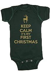 Festive Threads Keep Calm It's My First Christmas Baby Bodysuit