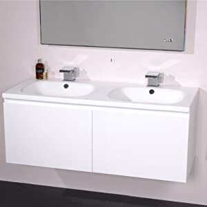 1200 Double Vanity Unit With Basin For Bathroom Luxury Wall Hung Soft Closi