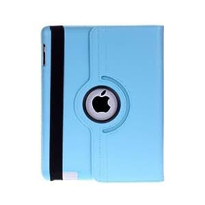 JAMMYLIZARD | Housse aspect cuir rotative 360 degrés pour iPad 4, iPad 3 et iPad 2, Bleu céleste