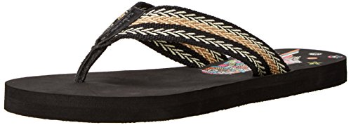 The SAK Women's Sakroots Eudora Flip Flop, Black/Owl, 6 M US