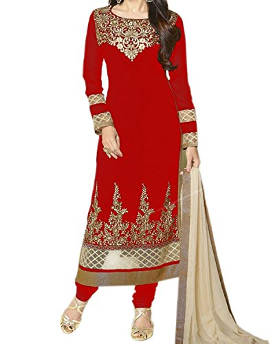 Salwar-Suit-For-Women-Semistitched-Red