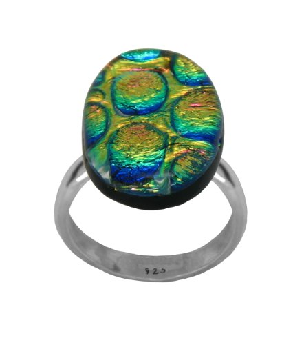 Sterling Silver Dichroic Glass Pink-Yellow Bubbles Oval-Shaped Ring, Size 7.5