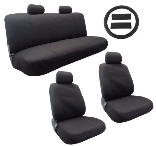 Classic Cloth Polyester Seat Cover Set Solid Black 13pc Set Front Pair Bench Steering Wheel Cover and Pads For Volkswagen VW Beetle (Classic Vw Wheels compare prices)
