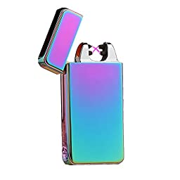 Anyea Pure Colour Double Arc Cigarette Lighter USB Electronic Pulse Flameless Windproof Lighter (Multicolor)